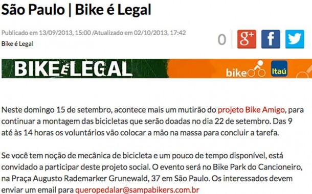 Mutirão Bike Amigo dia 15 de setembro em São Paulo | Bike é Legal