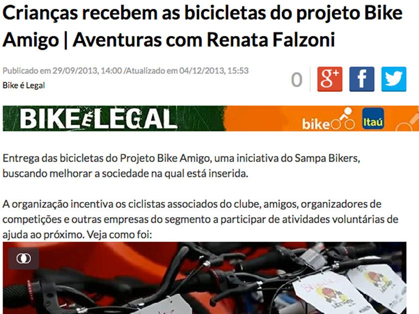ESPN BRASIL – AVENTURAS COM RENATA FALZONI – Crianças recebem bicicletas do projeto Bike Amigo