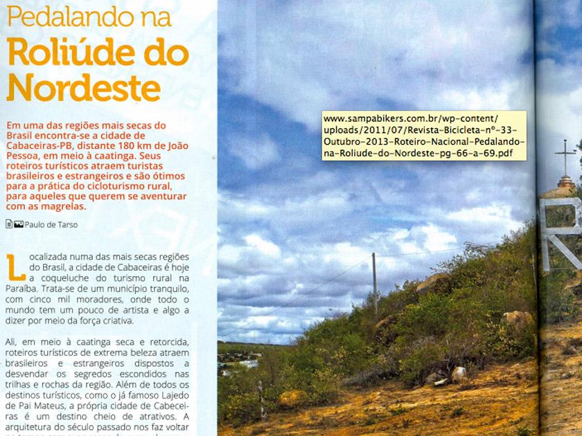 Revista Bicicleta - Roteiro Nacional – Pedalando na Roliude do Nordeste – pg 66 a 69