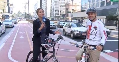 Redetv News – 29/06/2015 - Segunda feira não é menos movimenta na ciclovia da Paulista